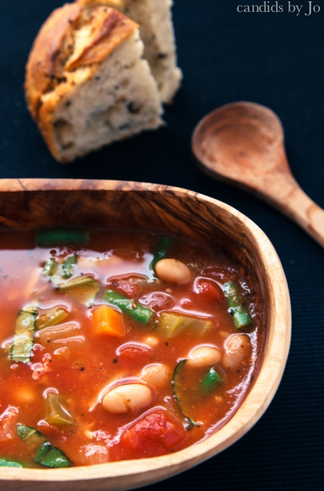 A satisfying portion of chunky minestrone soup