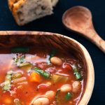 A homecoming soup: chunky minestrone with potato & rosemary sourdough bread