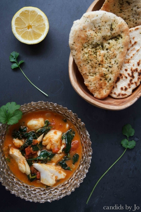Fuss-free meal: cod & spinach curry with garlic & coriander naan