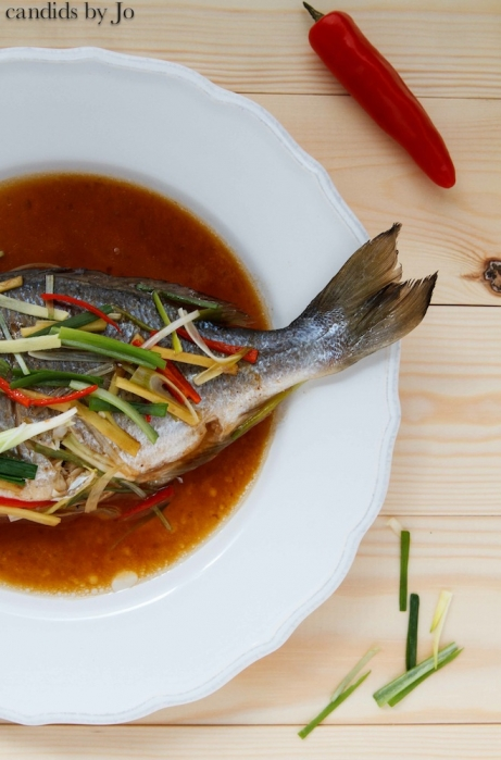 Steamed sea bream with ginger, scallions and chili