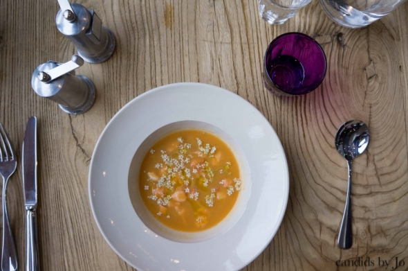 chilled melon & elderflower soup with lobster jelly