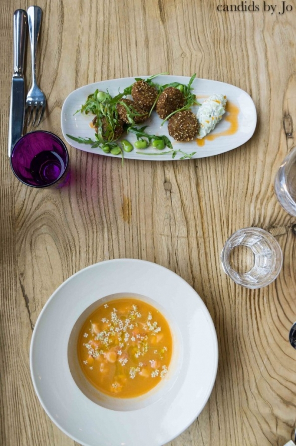 Courgette, broad bean & prawn falafel, raita | chilled melon & elderflower soup with lobster jelly