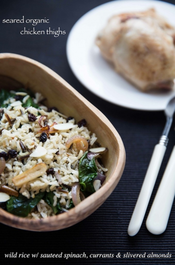 wild rice with sauteed spinach, currants, and slivered almonds