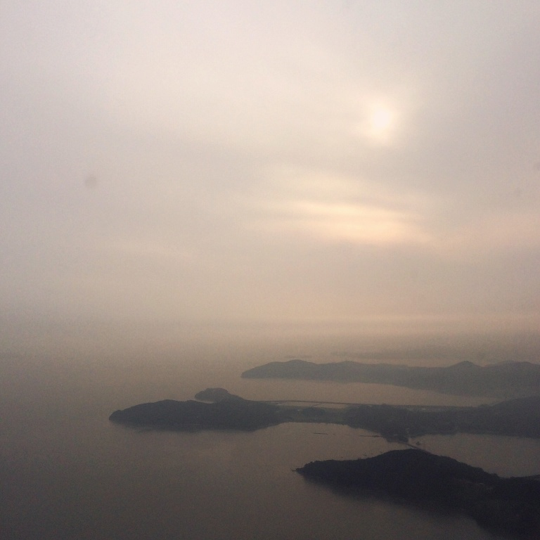 In flight on British Airways: Korean islands from the sky