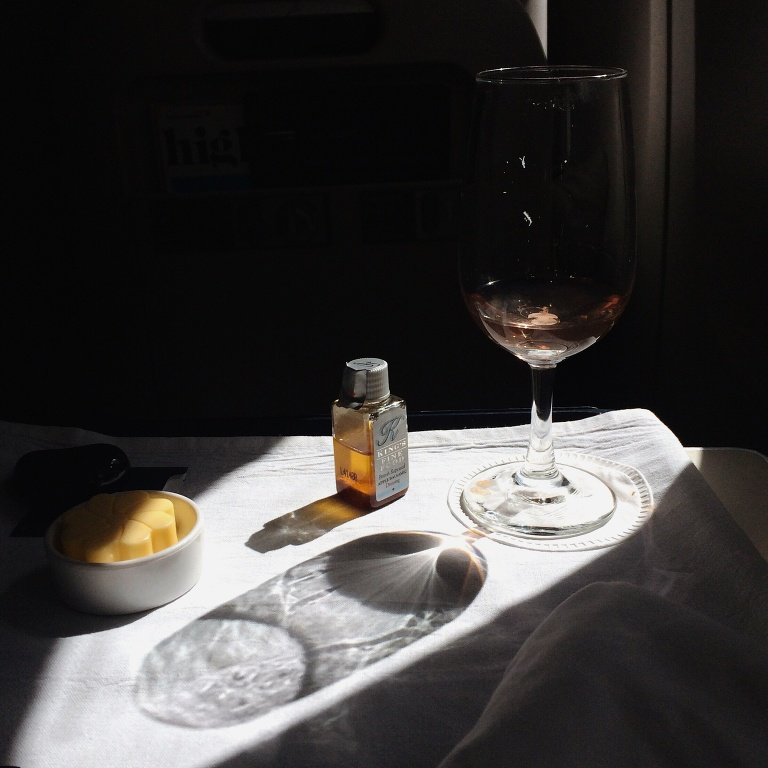 In flight on British Airways: kir royale & beautiful light