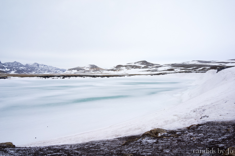 Iceland Graenavartn Green lake snow covered