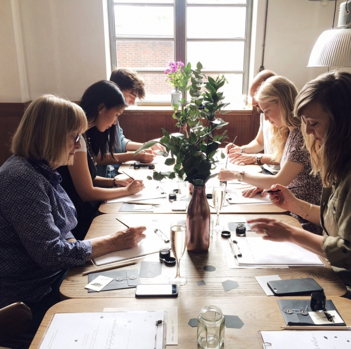Calligraphy Workshop in session at Town Hall Hotel London