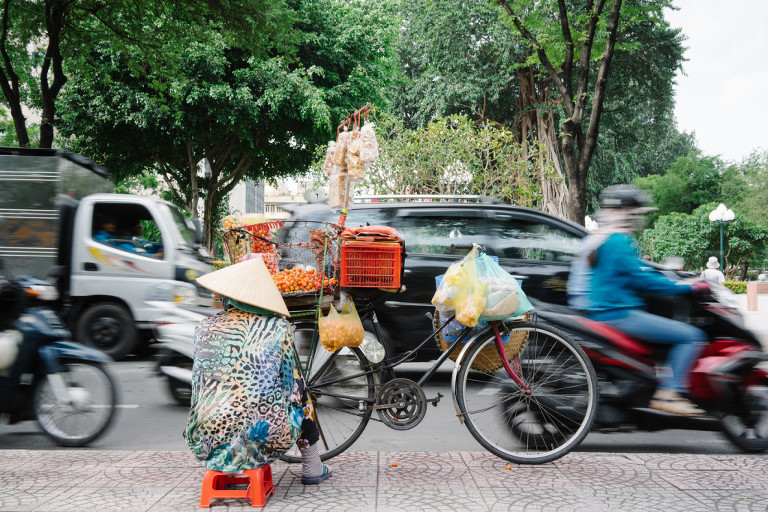 Saigon traffic street vendor
