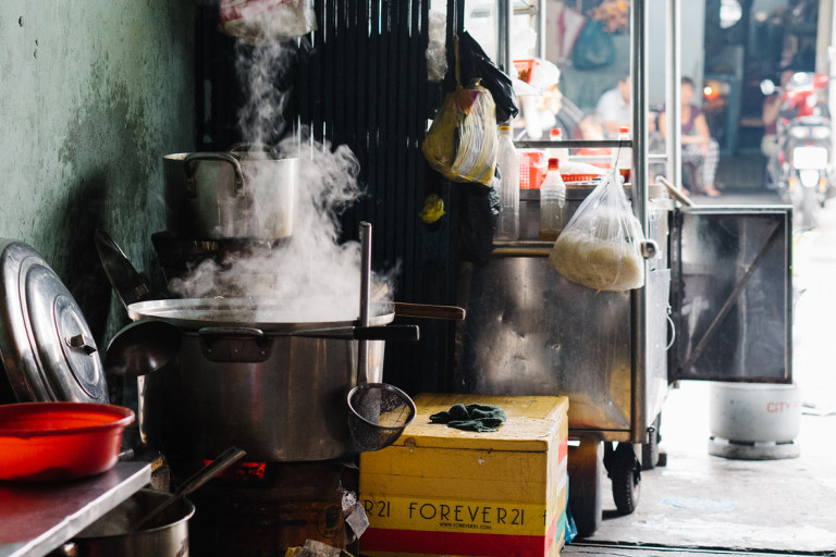 Street food Saigon steaming pot Vietnam