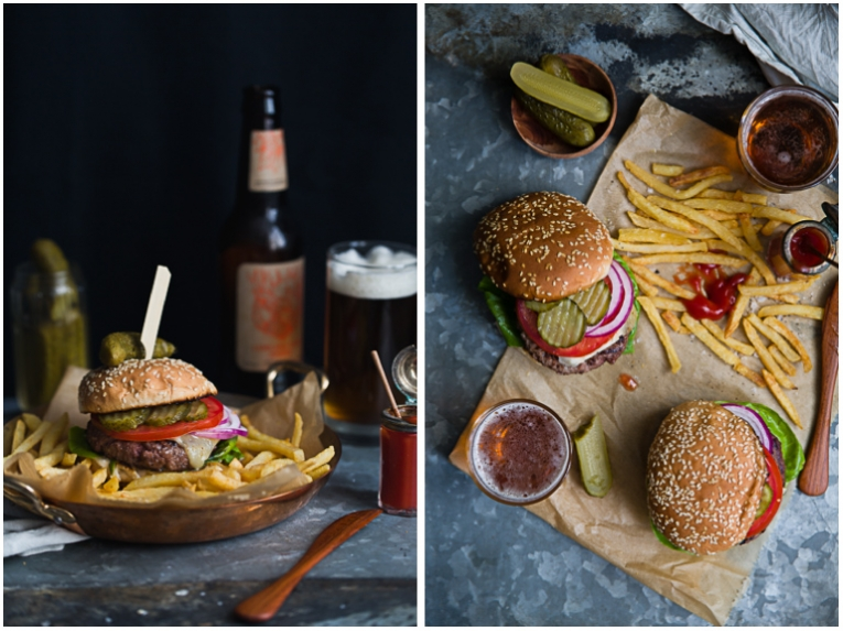 Burgers, french fries and beer photoshoot