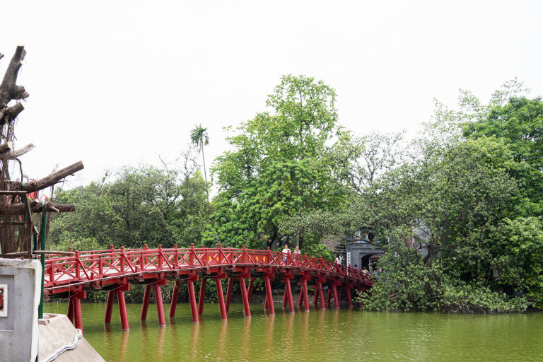 Red Hoan Kiem lake bridge Hanoi
