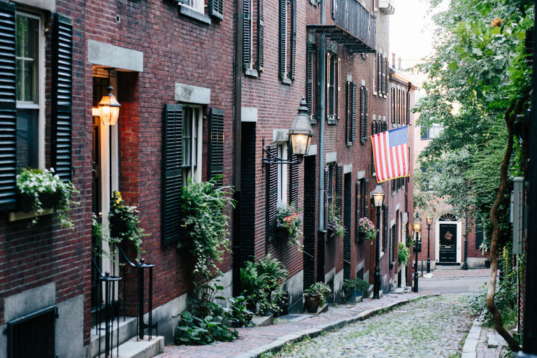 Acorn Street Beacon Hill Boston most photographed street