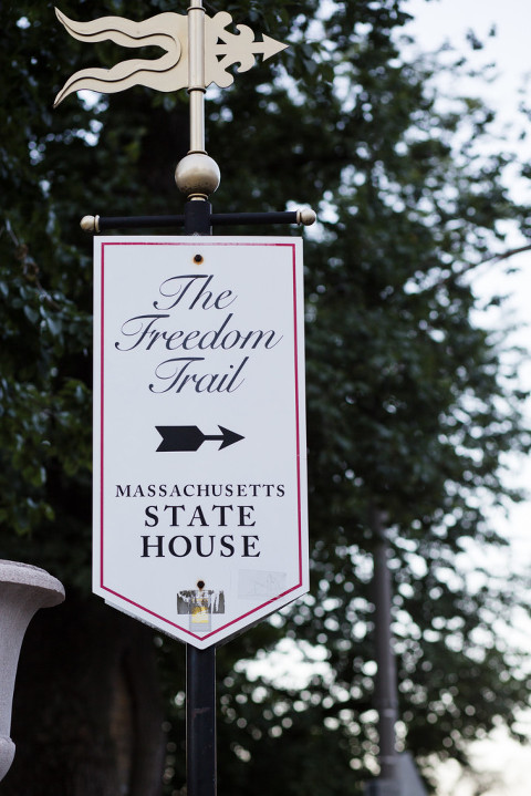 Freedom trail sign Beacon Street