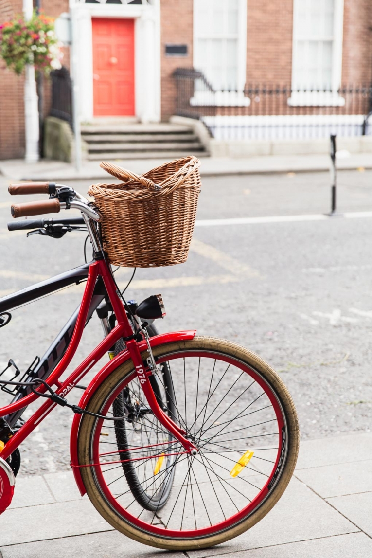 Beautiful Dublin: Red bicycle with basket photo