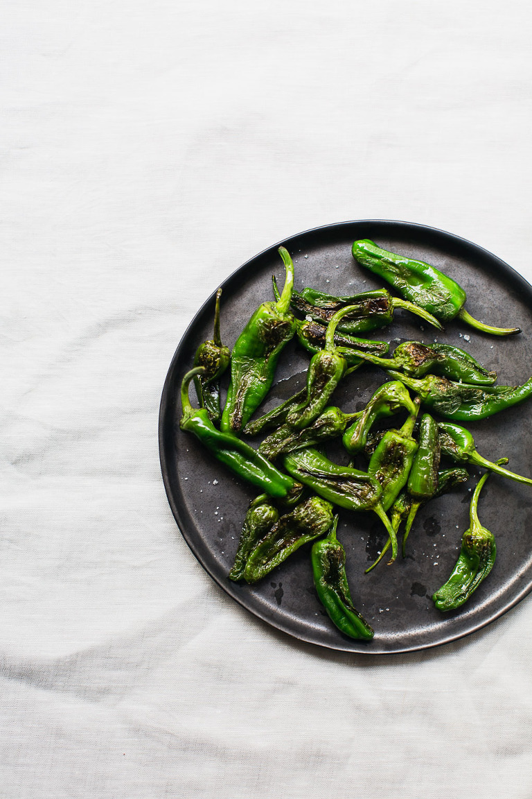 Blistered spanish padron peppers with salt recipe photo