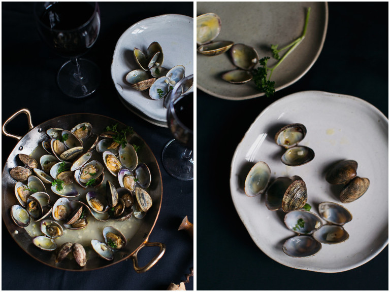 Garlic clams and red wine
