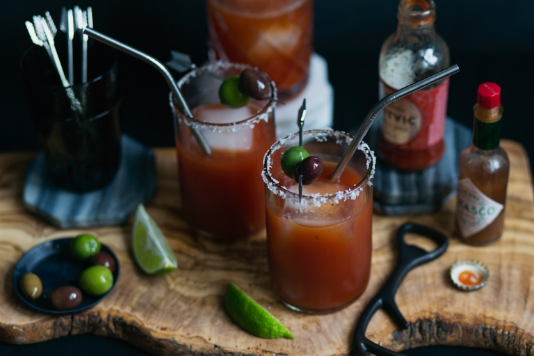 beer bloody mary with olives photo