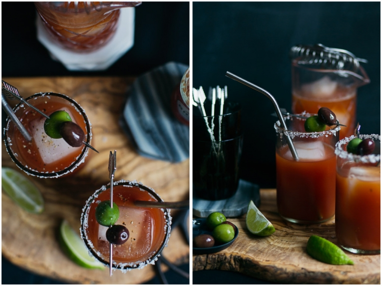 Beer bloody mary styled with West Elm products