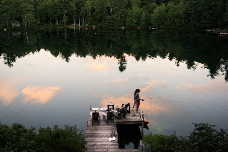 Fishing in Maine lakehouse