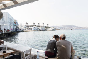 View of Chora windmills from Little Venice Mykonos
