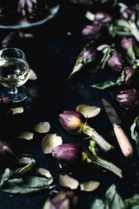 Purple artichokes moody flatlay Venice photo