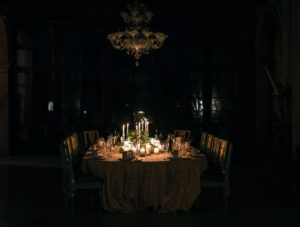 Candlelit dining room table photo